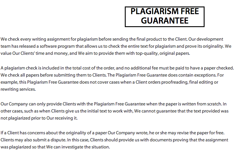 Every essay is guaranteed plagiarism free. I guess they have a hierarchy of vices.