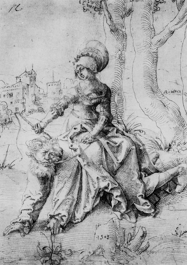 Hans Baldung Grien's early drawing from 1503 depicted a clothed Phyllis holding a riding crop and reigns sitting on Aristotle. In this drawing he set the scene somewhere outside of town. (See the original Phyllis and Aristotle by Hans Baldung Grien (1503) at the Louvre).