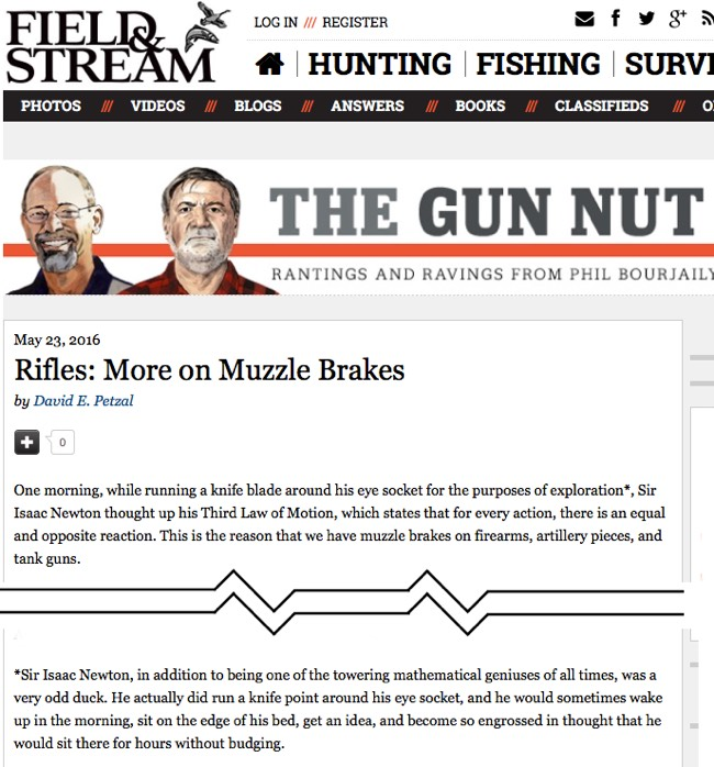 Field & Stream on Isaac Newton and Muzzle Brakes