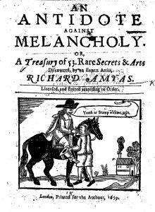Title page from Richard Amyas's An Antidote against Melancholy (1659)