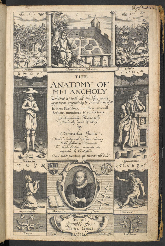 Scan of the title page of Robert Burton's Anatomy of Melancholy, the 1628 edition.